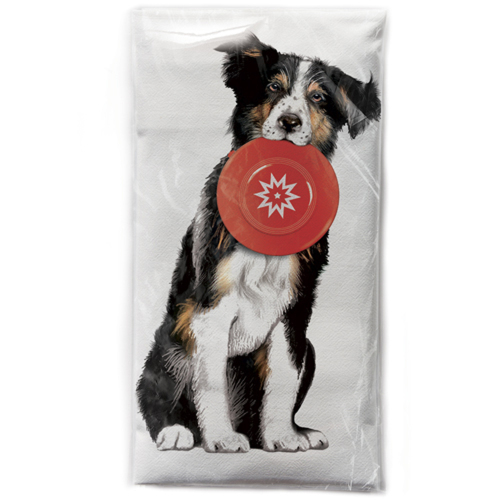 Collie with Frisbee Flour Sack Towel
