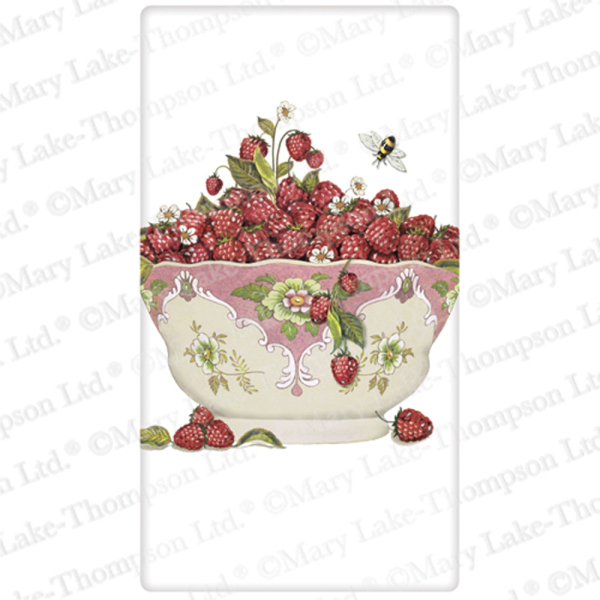 Raspberries In Pink Bowl Flour Sack Towel