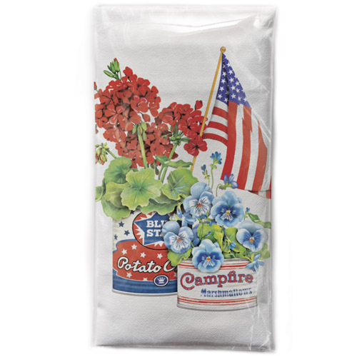 Can Flag Flowers Flour Sack Towel