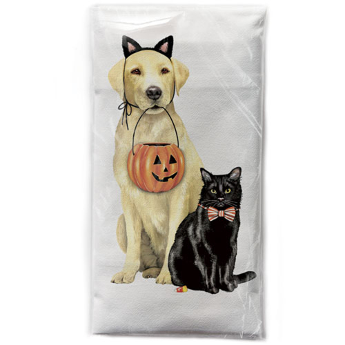 Halloween Dog and Cat Flour Sack Towel