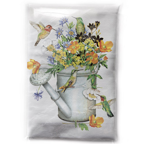 Hummingbird Water Can Flour Sack Towel
