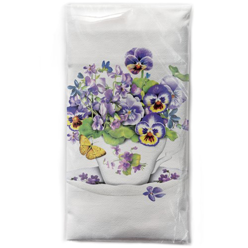 Teacup Violas Flour Sack Towel