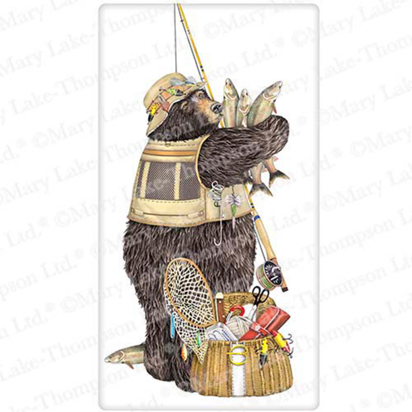 SALE!  Fishing Bear Flour Sack Towel