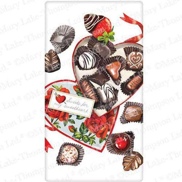 SALE!  Heart Chocolate Box Flour Sack Towel