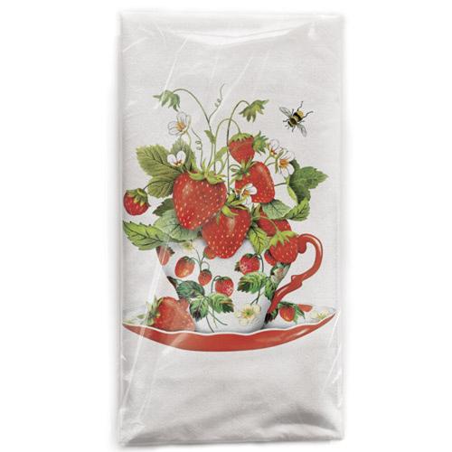 Strawberry Teacup Flour Sack Towel