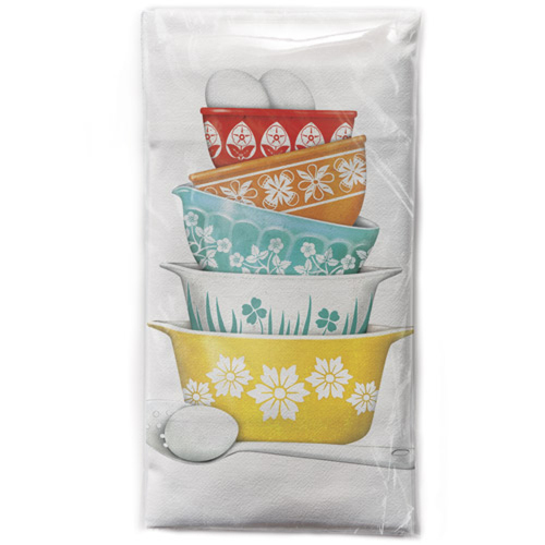 Vintage Bowl Stack Flour Sack Towel