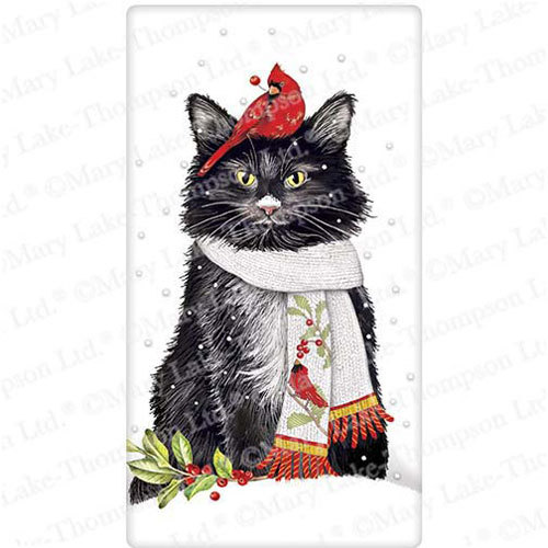 Cat with Cardinal Scarf Flour Sack Towel