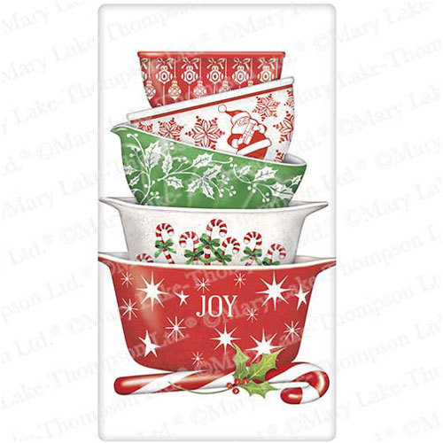 Holiday Vintage Bowls Flour Sack Towel