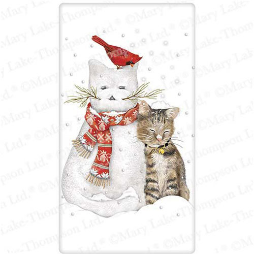 Snowman Kitty Flour Sack Towel