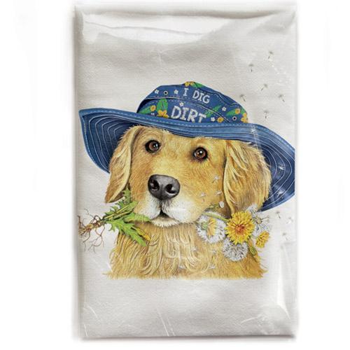 Retriever Garden Hat Flour Sack Towel