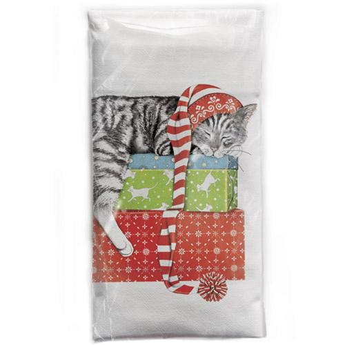 Sleepy Cat On Gift Stack Flour Sack Towel
