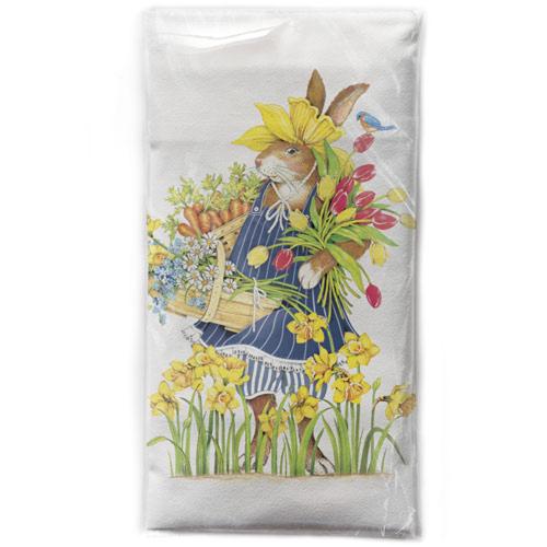 Daffodil Hat Rabbit Flour Sack Towel