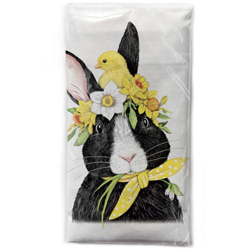 Flower Crown Rabbit Flour Sack Towel