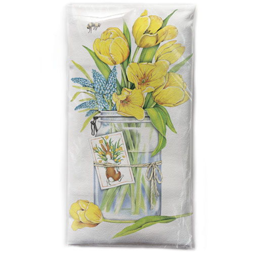 LTD QTY!  Yellow Tulips Flour Sack Towel