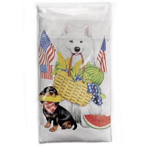 SALE!  Eskimo Dog Flags Flour Sack Towel