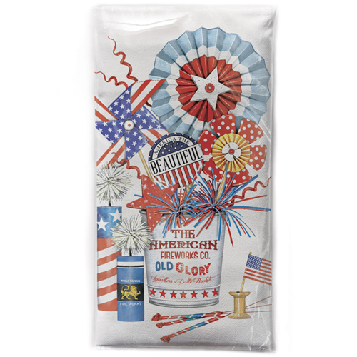 SALE!  Fireworks Bucket Flour Sack Towel