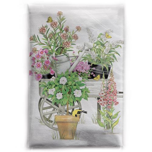 SALE!  Pink Flowers Wheelbarrow Flour Sack Towel