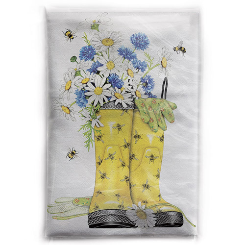 Daisy Rainboots Flour Sack Towel