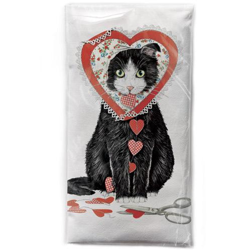 Valentine Cat Flour Sack Towel
