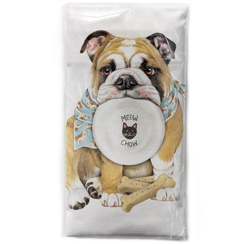 SALE!  Hungry Bulldog Flour Sack Towel