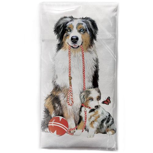 Aussie & Puppy Flour Sack Towel