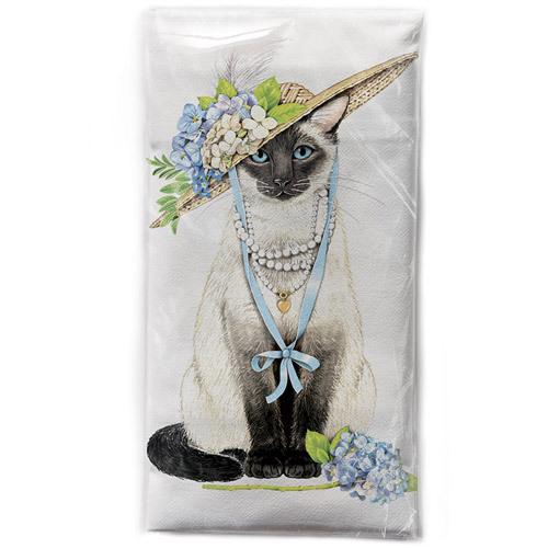 LTD QTY!  Hydrangea Cat Flour Sack Towel