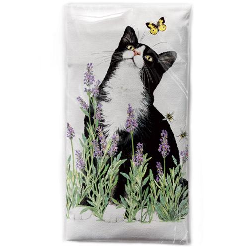 Lavender Cat Flour Sack Towel