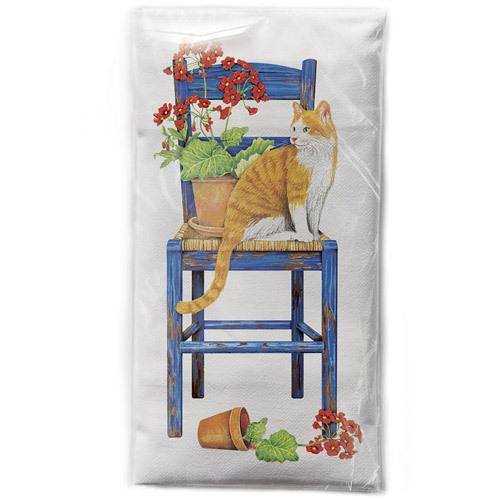Blue Chair Cat Flour Sack Towel