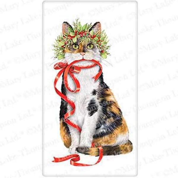 Holiday Calico Cat Flour Sack Towel