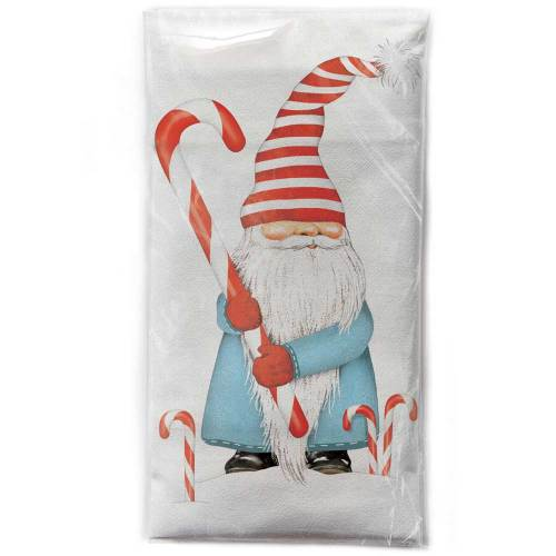 Gnome with Candy Cane Flour Sack Towel