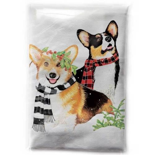 Corgis in Scarves Flour Sack Towel