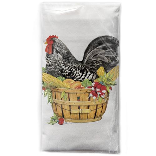 Speckled Hen In Basket Flour Sack Towel