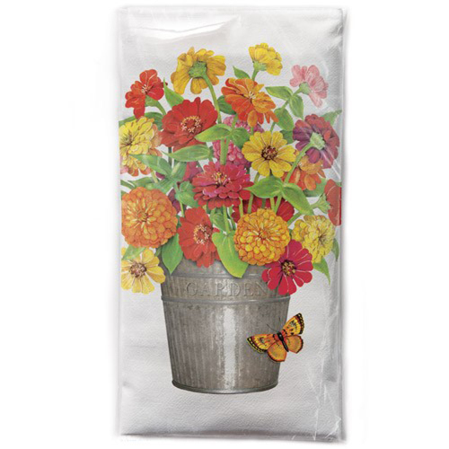 SALE!  Zinnias in a Bucket Flower Sack Towel