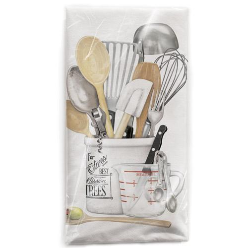 SALE!  Utensils in Crock Flour Sack Towel