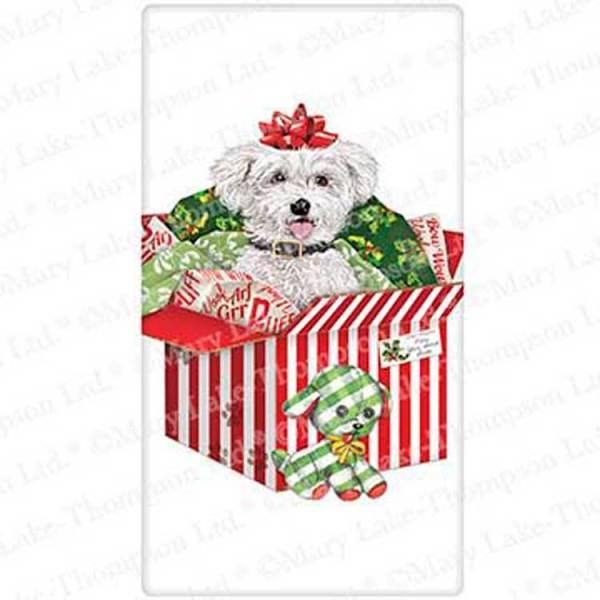 LTD QTY! Christmas Surprise Pup Flour Sack Towel