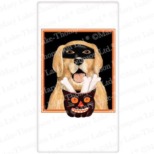 Halloween Retriever with Mask Flour Sack Towel