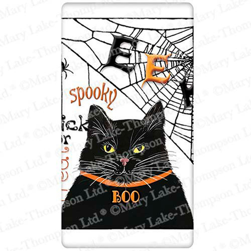Halloween Cat with Web Flour Sack Towel