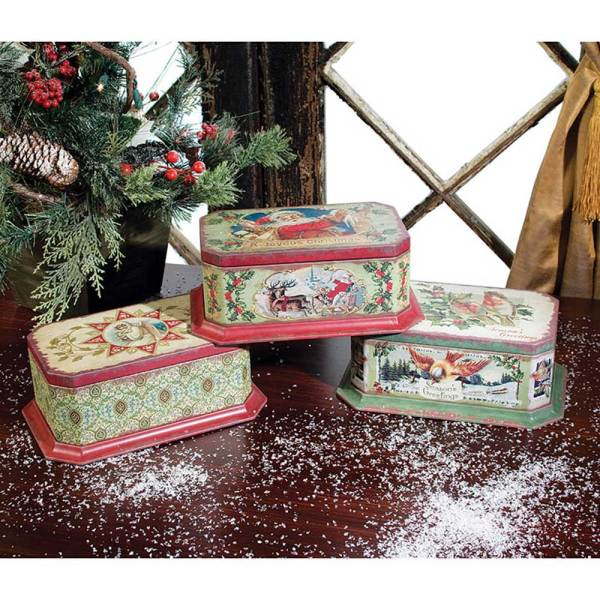 Vintage Christmas Cookie Tin Set