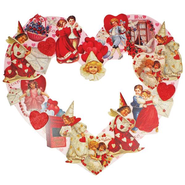 "LTD QTY! Vintage Valentine Heart Wreath  20"""