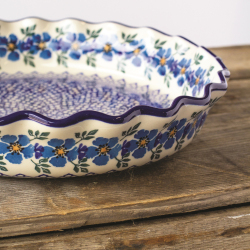 Pie Plate Blue Flax - Polish Pottery