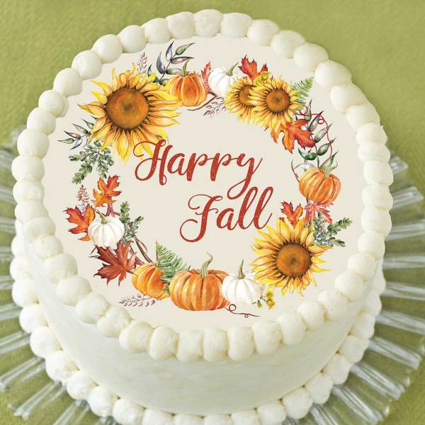 "Fall Wreath 8"" Cake Topper Wafer Paper"