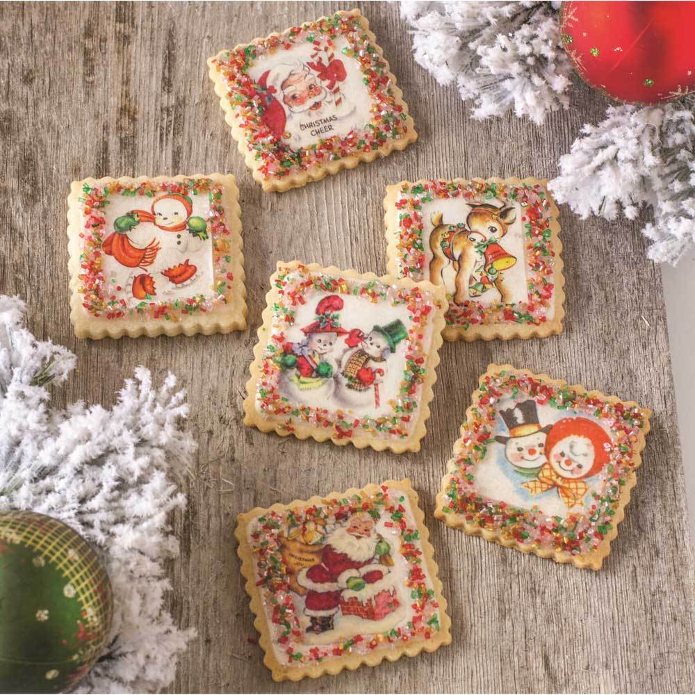 Christmas Miniatures.Retro Christmas Miniatures Wafer Paper Edible Wafer Paper