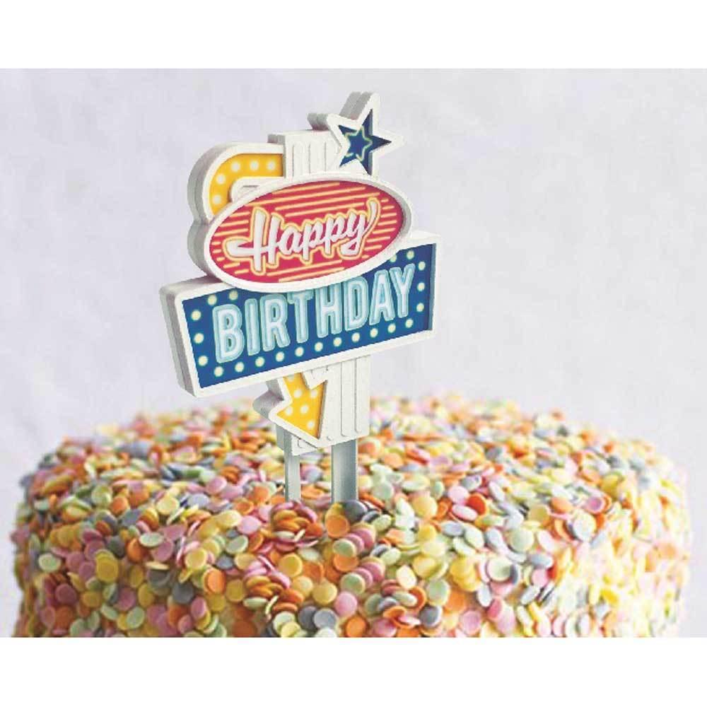 Flashing Happy Birthday Cake Topper Fancy Flours
