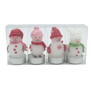 Snowman Candles in Box, S/4