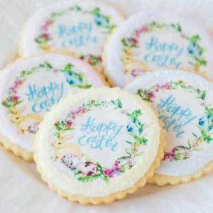 Happy Easter Wreath Wafer Paper