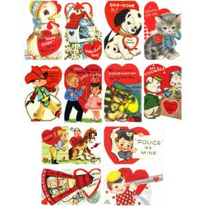 Retro Valentines Mini Postcard Wafer Paper