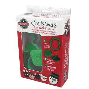 Christmas Fun Faces Cookie Cutter & Stamper Set