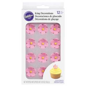 Pink Posies Icing Decorations