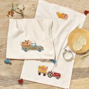 Farm Tractor Dishtowel & Pumpkin Cutter Set