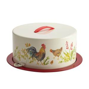 Garden Rooster Metal Cake Carrier